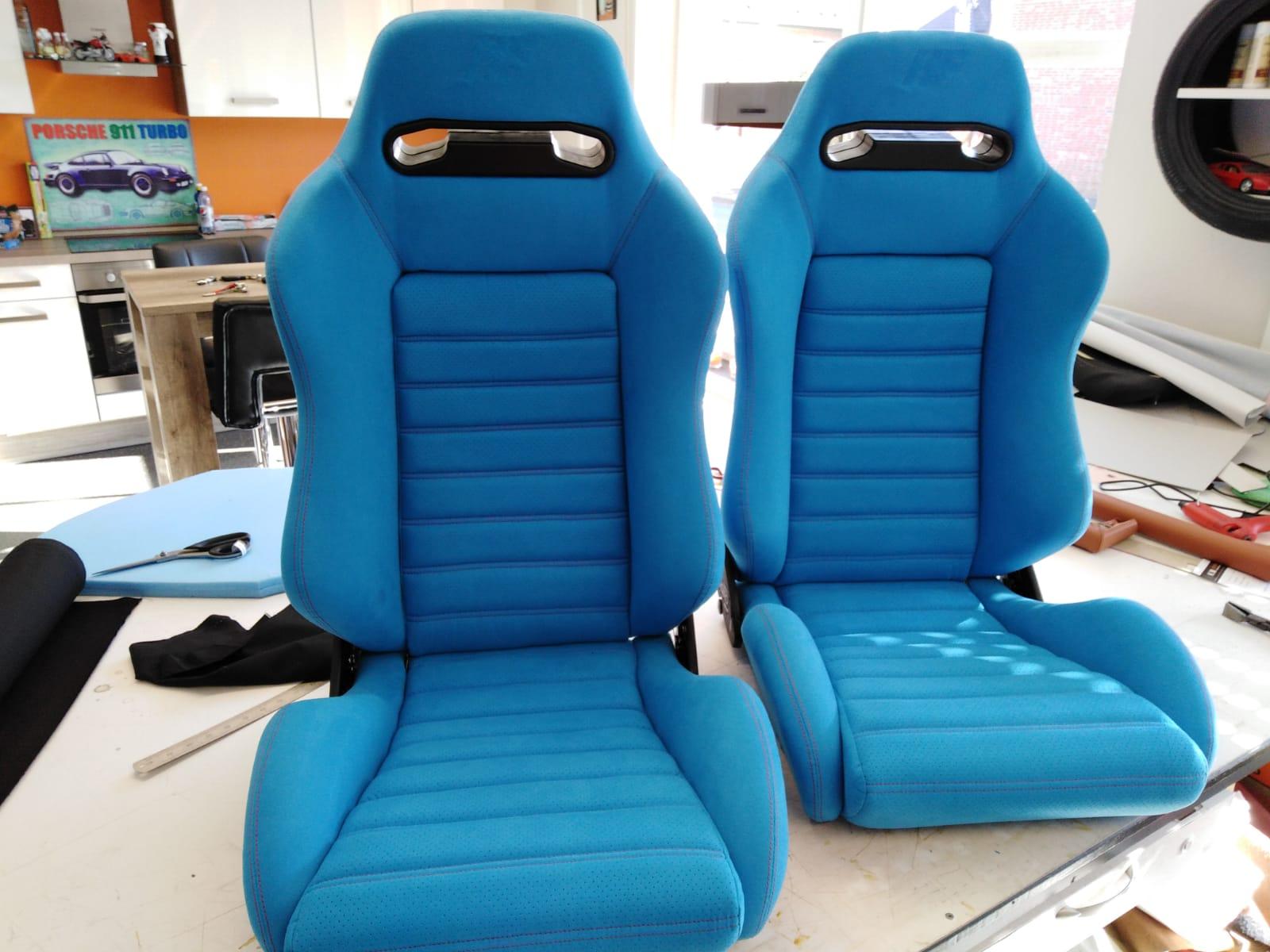 Autositze beziehen K.M. Lederdesign recaro sitz blau lederverarbeitung beziehen polstern