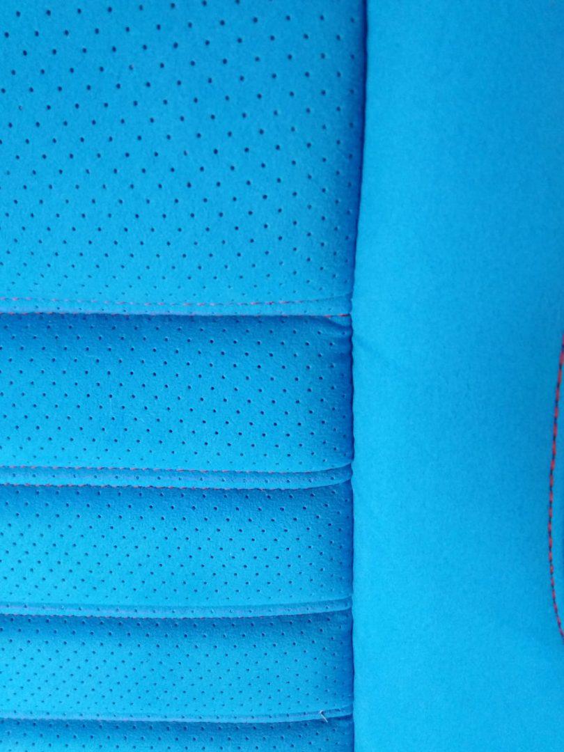 Autositze beziehen K.M. Lederdesign, Polsterer, hinten blau lederverarbeitung polstern